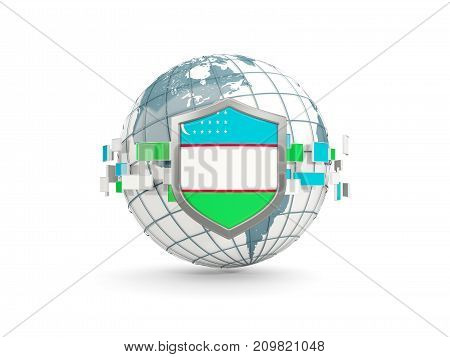 Globe And Shield With Flag Of Uzbekistan Isolated On White