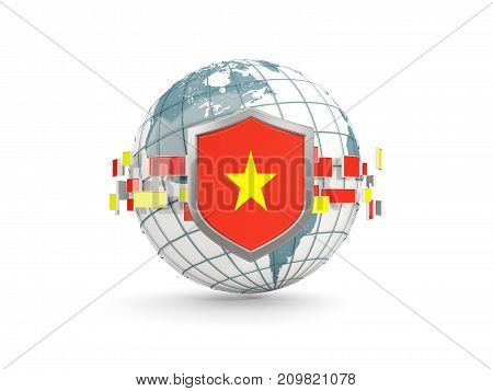 Globe And Shield With Flag Of Vietnam Isolated On White