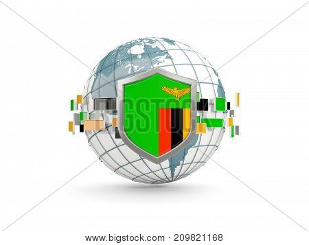 Globe And Shield With Flag Of Zambia Isolated On White