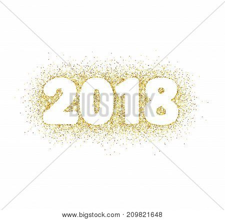2018 glitter typography design isolated on white. Golden sparkling vector dust rectangle with numbers. Great for calendars, New year and Christmas cards, party posters, website headers.