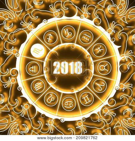 Astrological symbols in the circle. Scorpion sign. Celebration card template. Neon shine illumination. Zodiac circle with 2018 new year number. 3D rendering