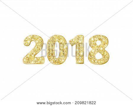 2018 glitter typography design. Golden sparkling numbers isolated on white. Great for calendars, New year and Christmas cards, party posters, website headers.