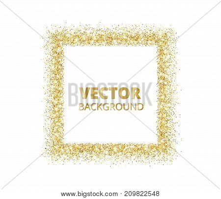 Festive golden sparkle background. Glitter border, spotted rectangle frame. Vector golden dust isolated on white. Great for christmas, birthday and valentine cards, wedding invitations, party posters.