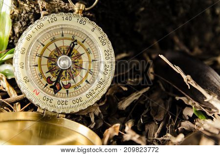 Antique Brass Compass Over Wooden Background (vintage)