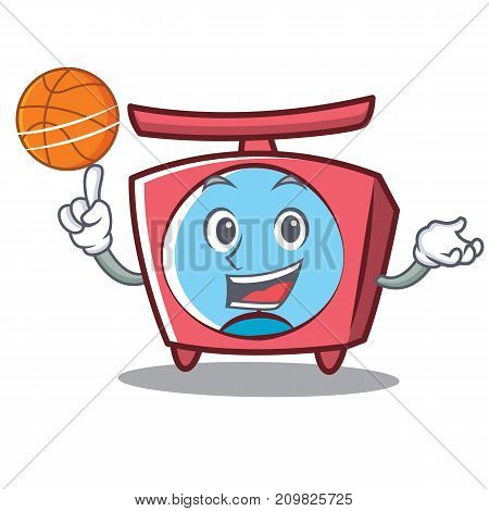 With basketball scale character cartoon style vector illustration