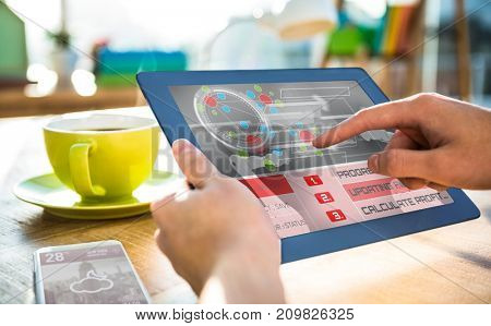 Application interface against cropped image of hipster businessman using 3D tablet