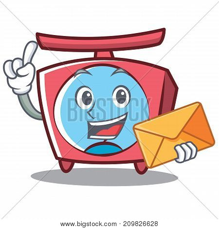 With envelope scale character cartoon style vector illustration