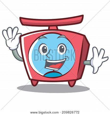 Waving scale character cartoon style vector illustration