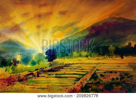 Painting on paper colorful of small home, cornfield, mountain in the sun. morning with sky view, sunlight and cloud background. Painted Impressionist abstract image Watercolor landscape illustration.