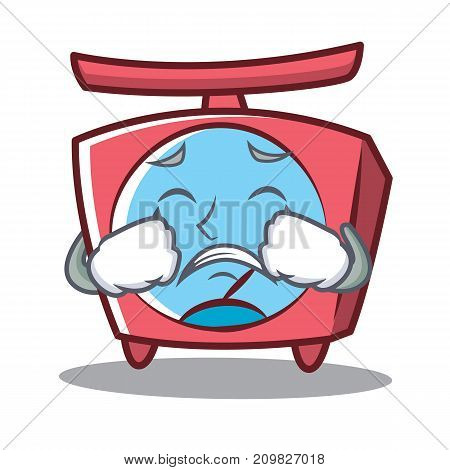 Crying scale character cartoon style vector illustration