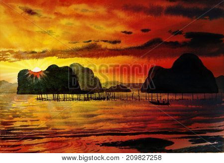 Painting seascape on paper colorful of Sea fishing in the orange sunlight. morning with sky view and cloud background Painted Impressionist abstract image Watercolor illustration.