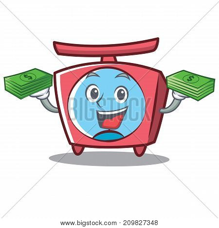 With money scale character cartoon style vector illustration
