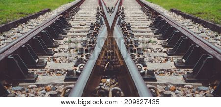 Railroad Tracks corssing and going in different directions