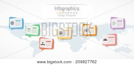 Infographic design for your business data with 7 options parts steps timelines or processes. Communication network concept Vector Illustration. World map of this image furnished by NASA
