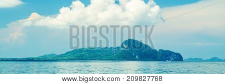 thailand landscape photo of island on trang province with blue sky and sea