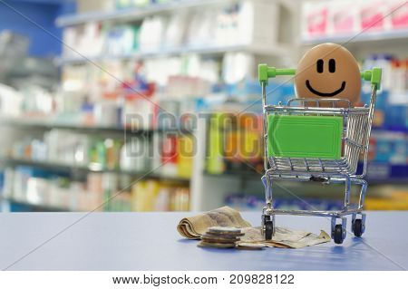 Conceptual. Happy face with money and shopping cart with blurred background