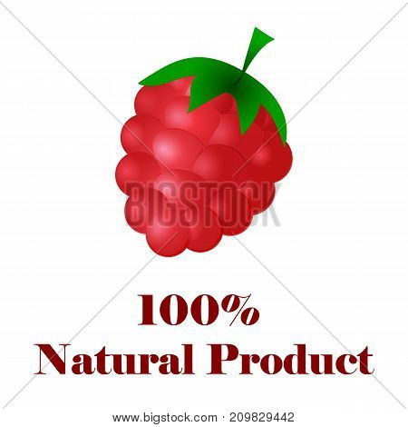 100 percent natural product raspberries on white background