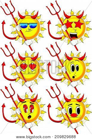 Cartoon devil sun with pitchfork. Collection with various facial expressions. Vector set.