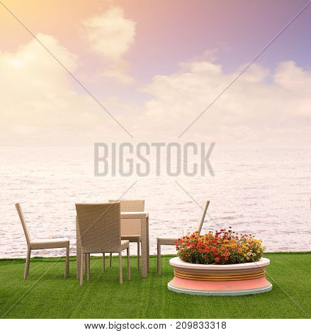 Rattan armchairs on the terrace lounge with sea view background.