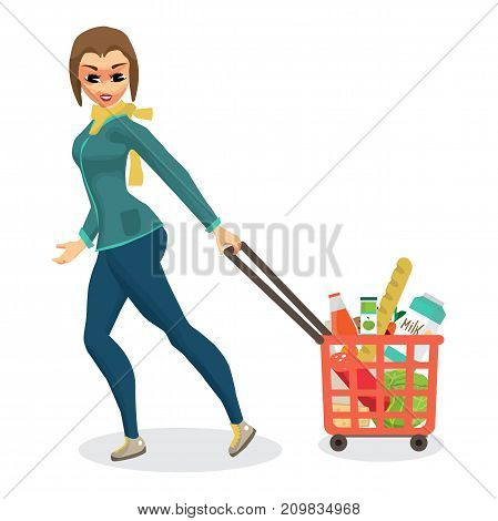 Young woman housewife in a supermarket with a full basket of food purchased. Girl rolls a goat on wheels with products. Flat cartoon vector illustration
