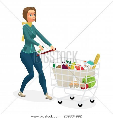 Young woman housewife in a supermarket with a full shopping cart of food purchased. Girl rolls a trolley with products. Flat cartoon vector illustration