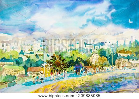 Watercolor landscape original painting buildings in the city, sky, cloud background