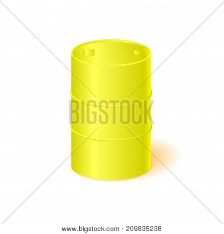 Yellow oil barrel isolated on white background. Vector illustration.