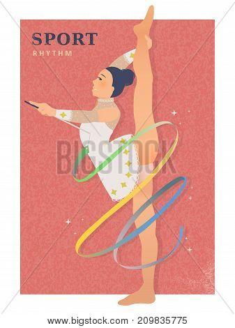 Rhythmic gymnastics - elegant woman dancing with ribbon poster
