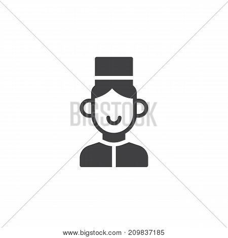 Bell boy icon vector, filled flat sign, solid pictogram isolated on white. Symbol, logo illustration.