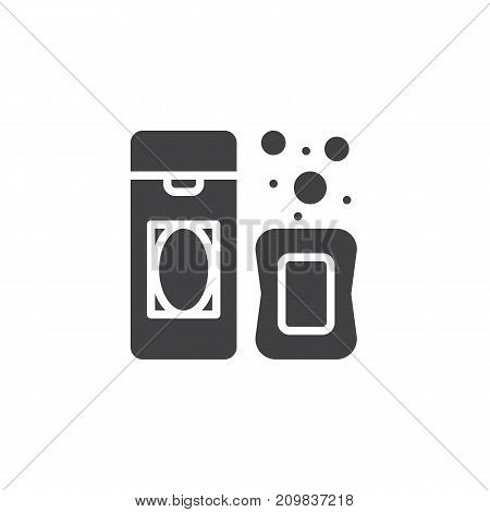 Shampoo and soap icon vector, filled flat sign, solid pictogram isolated on white. Symbol, logo illustration.