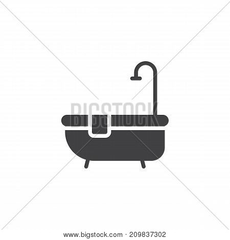 Hotel bathtub with shower icon vector, filled flat sign, solid pictogram isolated on white. Symbol, logo illustration.