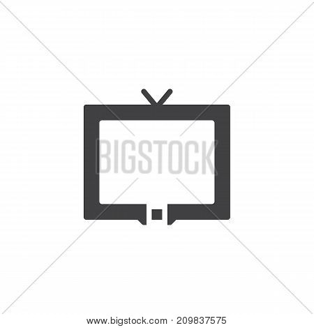 Television icon vector, filled flat sign, solid pictogram isolated on white. Cable tv symbol, logo illustration.