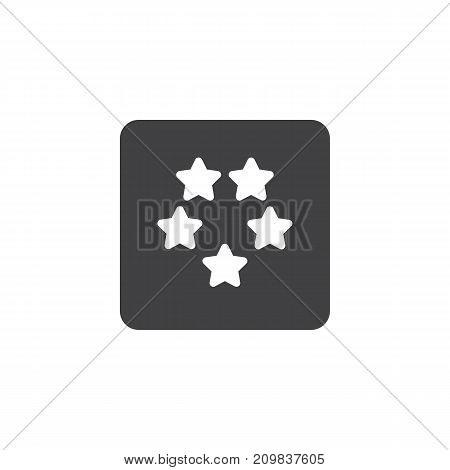 Five stars hotel rating icon vector, filled flat sign, solid pictogram isolated on white. Symbol, logo illustration.