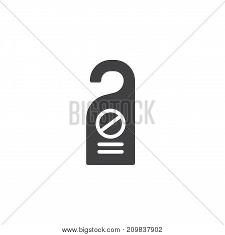 Do not disturb door tag icon vector, filled flat sign, solid pictogram isolated on white. Symbol, logo illustration.