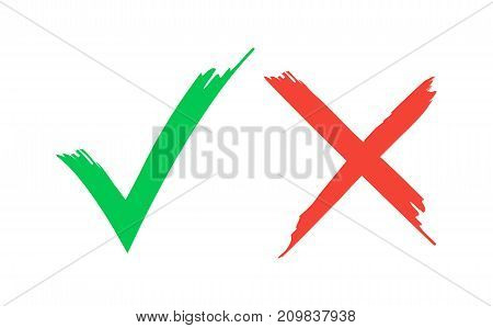 Tick icon set. Stylish check mark icon set in green and red color, vector illustration. Check Marks painted with a brush, isolated on white. Grunge checkmarks.