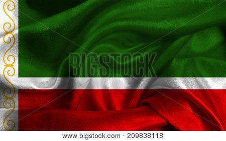 Realistic flag of Chechen Republic on the wavy surface of fabric. This flag can be used in design.