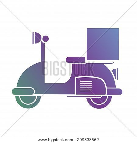 line motorcycle with box package service vector illustration