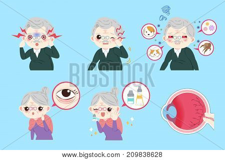old people with eye allergy on the blue background