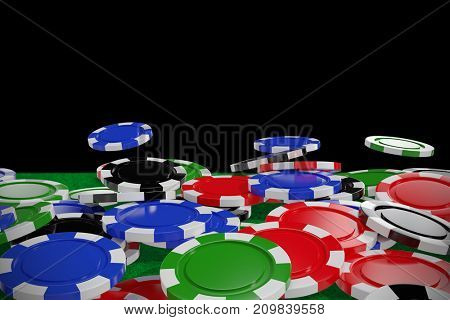Digitally generated image of 3D gambling chips against black background