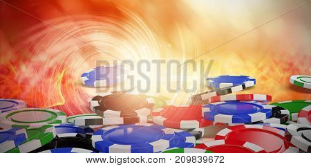 Digitally generated image of 3D gambling chips against background with shiny spiral