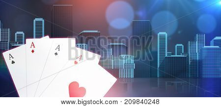 Digital 3D composite image playing cards against cityscape against white background  cityscape against white background