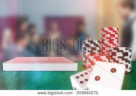 3D image of dice against people placing bets on roulette table