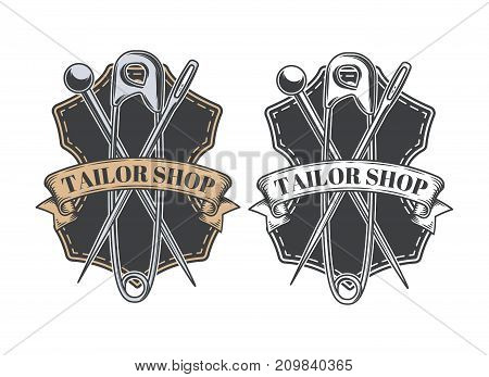 Tailor shop emblem or signage with business information vector illustration in retro style. Custom, individual sewing handiwork small business brand sticker, label or badge design template poster
