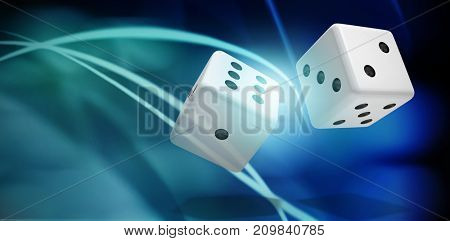 Computer generated 3D image of dice against light circles on black background