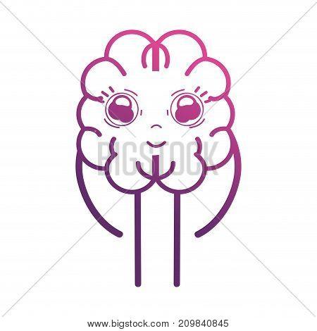 line cute brain kawaii with arms and legs vector illustration