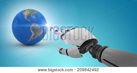 White robot arm pointing at something against blue vignette background