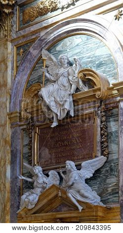 ROME, ITALY - SEPTEMBER 03: Interior of the Basilica dei Santi Ambrogio e Carlo al Corso, Rome, Italy on September 03, 2016.