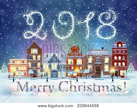 happy new year and merry Christmas winter old town street with trees. Christmas card with cityscape and 2018 sparklers. concept for greeting and postal card, invitation, template, vector illustration
