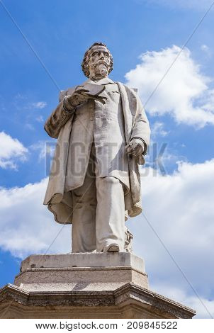 VERONA ITALY - May 25 2017: Monument of Aleardo Aleardi poet politician and patriot of the italian Risorgimento belonging to the current of romanticism a movement in the arts and literature that originated in the late 18th century emphasizing inspiration