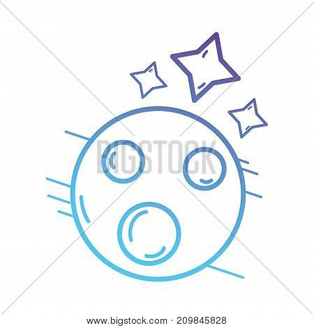 line venus planet with star in the galaxy space vector illustration